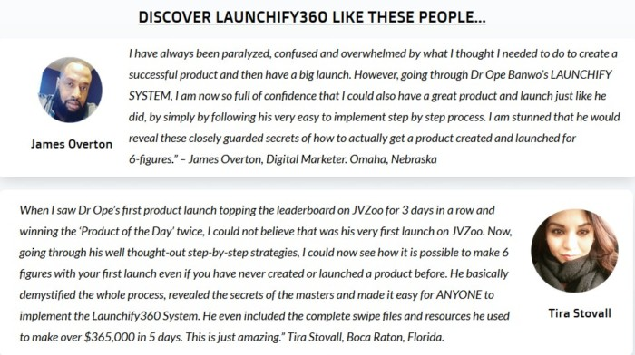 Launchify360 Training Course System by Dr. Ope Banwo testimonials